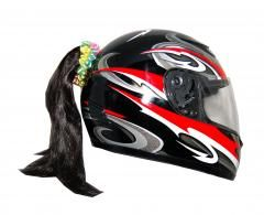 Motorcycle Helmet Ponytail - Black