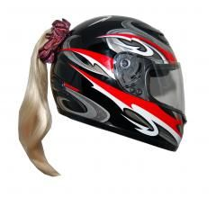 Motorcycle Helmet Ponytail - Blonde