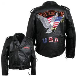 Diamond Plate Mens Hand-Sewn Pebble Grain Genuine Buffalo Leather Jacket