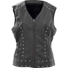 Giovanni Navarre Tailored Ladies Faux Leather Studded Vest