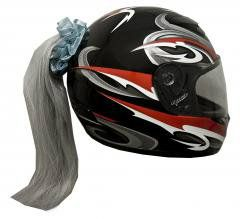 Motorcycle Helmet Ponytail - Grey