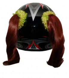 Motorcycle Helmet Pigtails - Natural Red