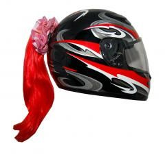 Motorcycle Helmet Ponytail - Red