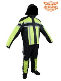 Black/Fluorescent Textile Two-Piece Rain Suit