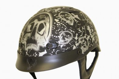 1Mbyb - Dot Matte Bone Yard Black Shorty Motorcycle Helmet