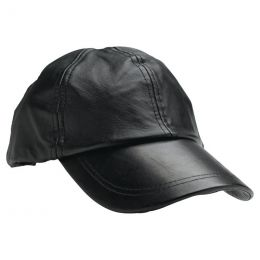 Solid Leather Baseball Cap with Adjustable Strap