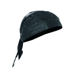 Solid Leather Skull Cap with Adjustable Tie Back