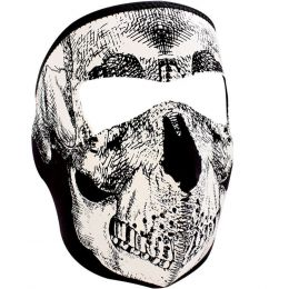 WNFM002 ZAN® Full Mask - Neoprene - Black and White Skull Face