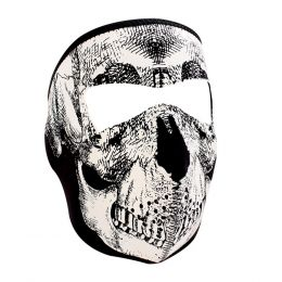 WNFM002G ZAN® Full Mask- Neoprene- Black and White Skull- Glow