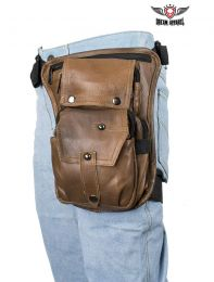 Premier Brown Leather Multi Pocket Thigh Bags with Gun Pocket