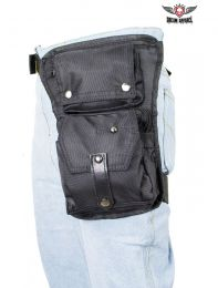 Black Textile Multi Pocket Thigh Bag with Gun Pocket