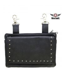 All Naked Cowhide Leather Black Studded Belt Bag