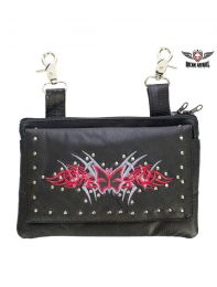 All Naked Cowhide Leather Red Butterfly Belt Bag