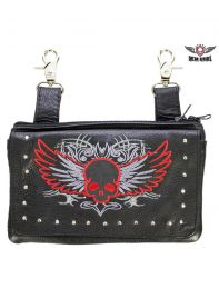 Studded Naked Cowhide Leather Red Skull Belt Bag